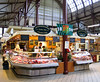Meat stand in the Saluhalle indoor market