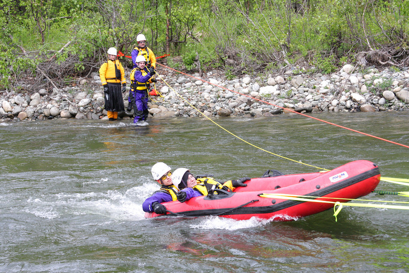 A tensioned diagonal allows rescuers to traverse a river with less danger from vicious currents.