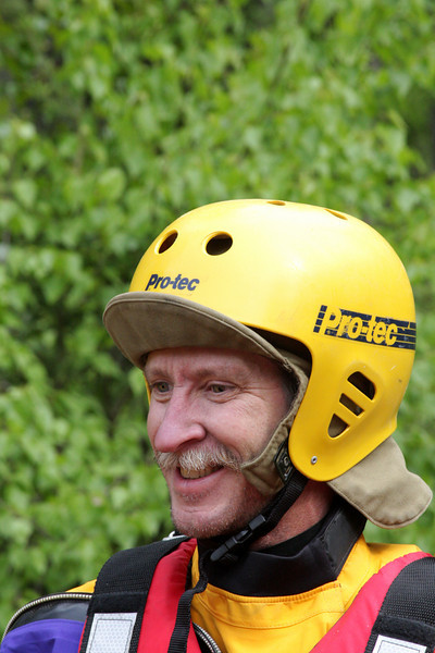 Ray Smith smiles while prepping for the action on the river.