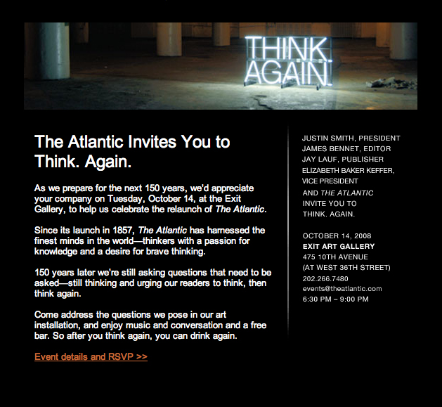 "NEW YORK-OCTOBER 14:  VIP Guests attend The Atlantic relaunch celebration ""Think.Again."" at Exit Art Gallery, 475 Tenth Avenue, New York City on Tuesday, October 14, 2008  (Photo Credit: Christopher London/ManhattanSociety.com)"