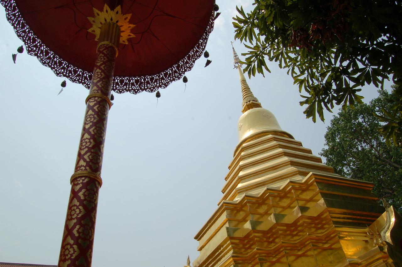 Temple and umbrella
