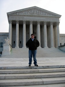 Jordan, on the steps of the Supreme Court