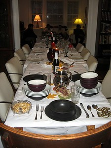 Thanksgiving table, set for 17.