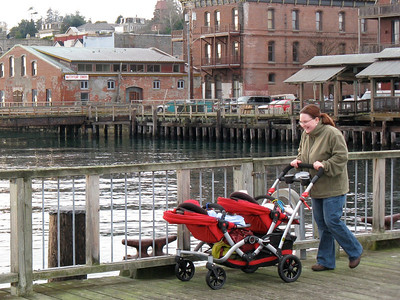 Mom and twins in Port Townsend