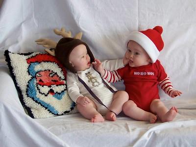 Grappling, while Santa watches