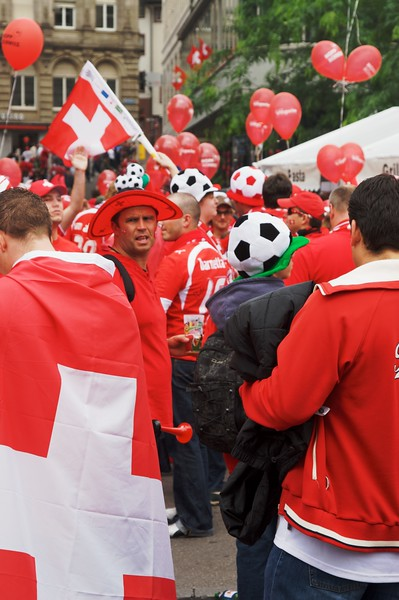 Massed ranks • The streets of Basle were awash with a sea of red—soccer supporters getting ready for that evening's match between Switzerland and Turkey.
