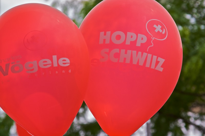 On the bandwagon • Vögele, a Swiss chain of shoe shops, had cleverly handed out balloons in support of the national team, which meant that their brand was all over the streets of Basle when I was there.