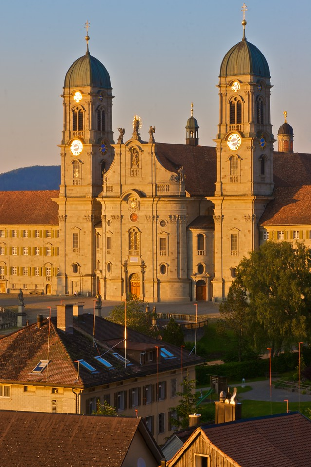 Einsiedeln Abbey • Einsiedeln Abbey in its current form was completed in 1719. It is attached to Einsiedeln library, which contains 50,000 volumes.