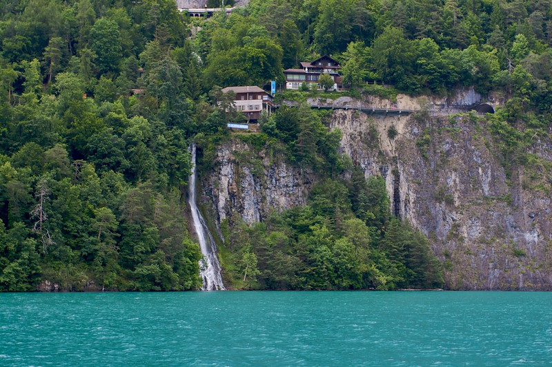 St-Beatus-Höhlen • These caves are underground on the southern shore of Thunersee (Lake Thun). There are streams in the cave, which lead to this waterfall which gushes in to the lake.