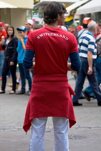 Just in case you forget which country you're in • One of the thousands of Switzerland soccer supporters on the streets of Basle on the afternoon of the Euro 2008 match between Switzerland and Turkey in that city.