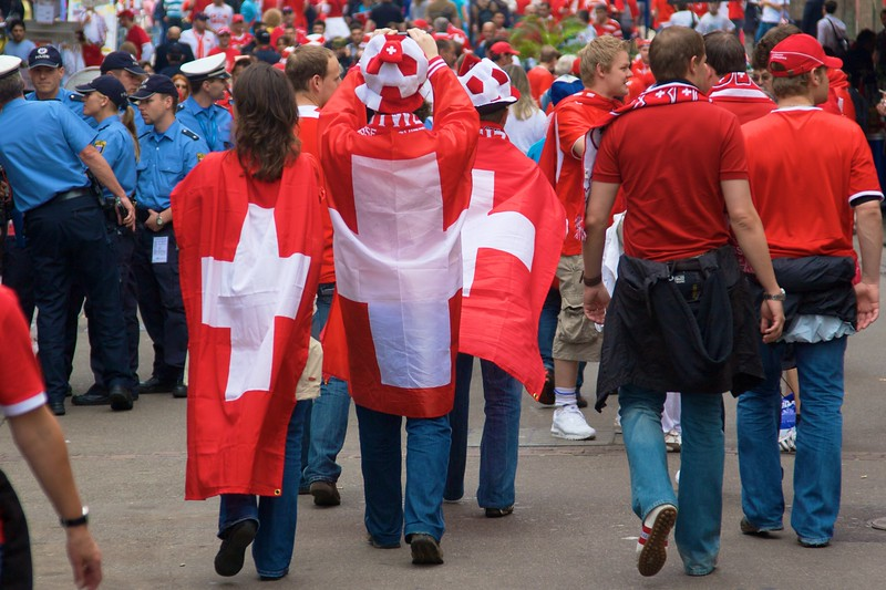 Someone tell these people that the Swiss flag is supposed to be square