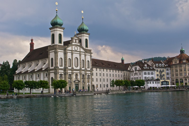 Jesuitenkirche • The domes of the Jesuitenkirche are a recognizable landmark on the south bank of the river Reuss in Lucerne, just as the river widens to Lake Lucerne (Vierwaldstättersee).