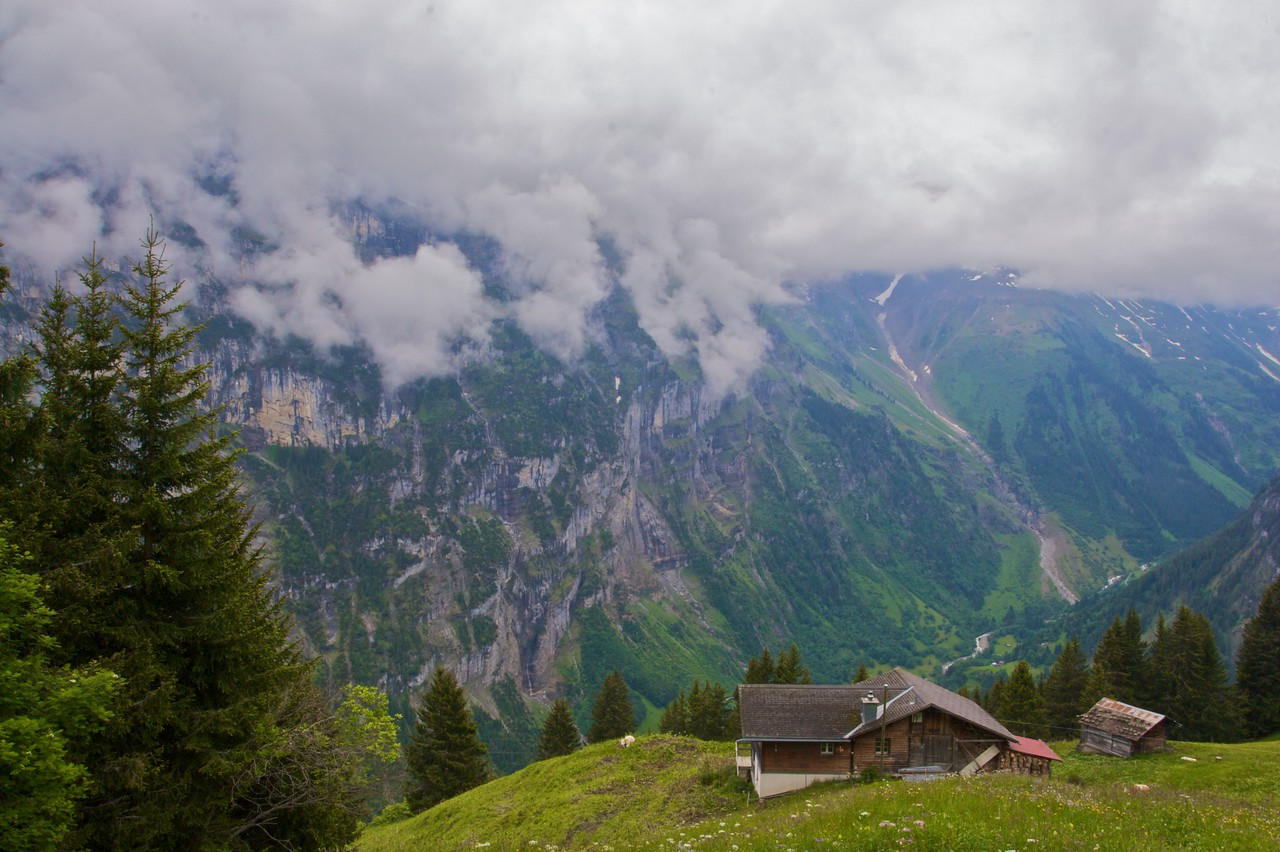 Alpine • Mürren in the Bernese Oberland was swathed in cloud when I went, which considerably lessened the quality of the view further up from the Schilthorn…
