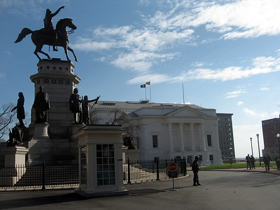 The equestrian statue of George Washington, in front of the the northwest side of the State Capitol