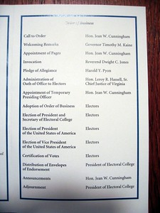 Order of business for the 2008 meeting of the Virginia Electoral College
