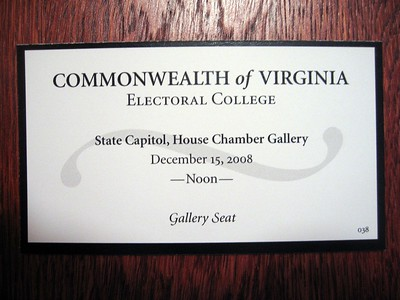 Gallery ticket for the 2008 meeting of the Virginia Electoral College