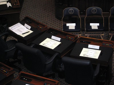 The electors' certificates of ascertainment await them on their desks in the chamber of the Virginia House of Delegates