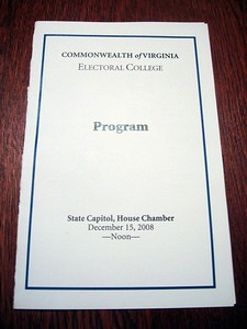 Program for the 2008 meeting of the Virginia Electoral College