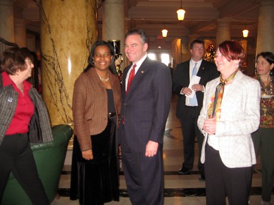 Governor Tim Kaine poses for a photo with House Candidate Charniele Herring