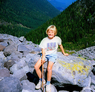 Emily on the rocks above Summerland, 2000