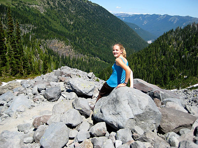 Emily on the rocks above Summerland (2008)