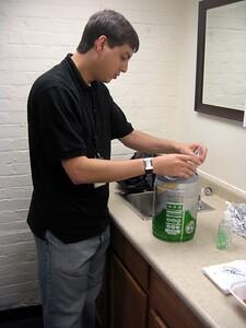 Raf prepares the bowling keg