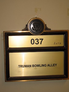 Sign for the Harry S. Truman Bowling Alley