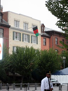 The flag of Afghanistan flies over Blair House, indicating that President Hamid Karzai is in residence.