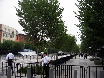 Entrance to the White House Complex, with the Blair House on the left.
