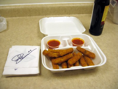 Craig imported mozzarella sticks for the occasion, in the great tradition of American bowling