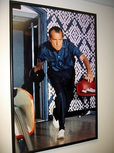 President Richard Nixon bowls