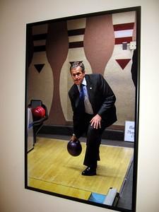 President George W. Bush bowls