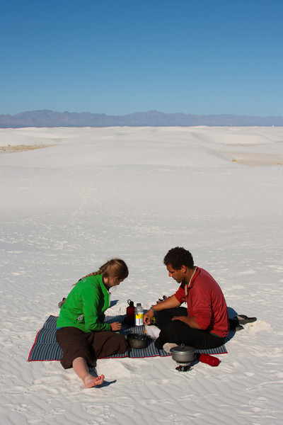 Lunchtime calls and Tracy and Kelsey enjoy some soup before we trek out across the dunes.