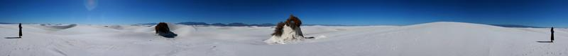 360 plus degrees of the sandy landscape of White Sands National Monument, with Tracy watching at either end.