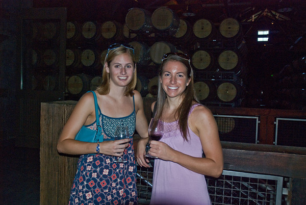 Stacy and Kira drinking a merlot in the barrel cellar at Frogs Leap Winery in Napa Valley, CA.