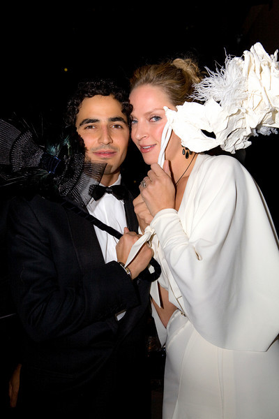 NEW YORK-OCTOBER 30:  Zac Posen and Uma Thurman attend Young Patrons of Lincoln Center Fall Masquerade Gala honoring Zac Posen at the Allen Room at The Rose Building, Time Warner Center, New York City,  NY on Thursday, October 30, 2008 (Photo Credit: Erica Leone)