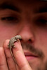 Richard eyes a tiny lizard face to face.