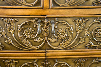 Detail ornate dresser drawers