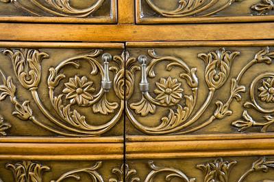 Detail ornate dresser drawers