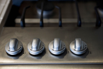 Detail knobs on stove top