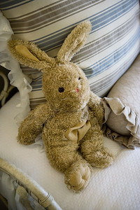 Stuffed bunny on bed