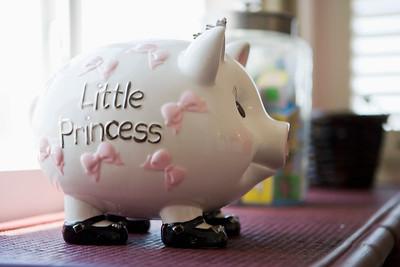 Little princess piggy bank on shelf