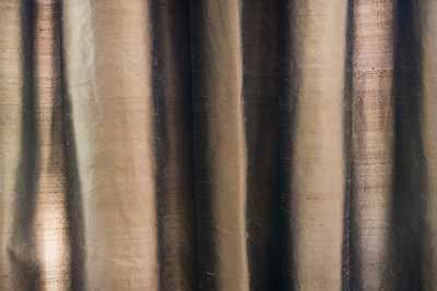 Detail brown satin drapes