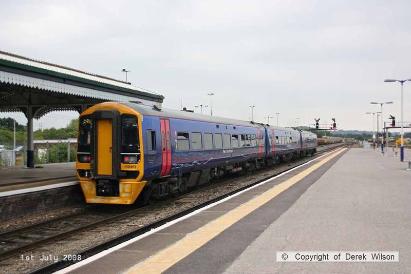 080701-057     First Great Western class 158 unit no. 158951 pulls away from Westbury with a Portsmouth Harbour - Cardiff Central service.