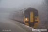 080219-007    Ex TransPennine class 158 unit no 158773 emerges from the freezing fog as it passes through Netherfield with the 07.59 Nottingham to Skegness.