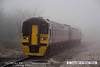 080219-019    Ex TransPennine class 158 unit no 158770 disappears back into the freezing fog as it heads away from Netherfield with the 07.40 Sheffield to Norwich.