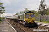 080502-005     Freightliner class 66/6 no 66606 is captured passing through Burton Joyce, near Nottingham, powering train 6E54 Kingsbury to Humber oil refinery, empty (fuel-oil) bogie tanks.