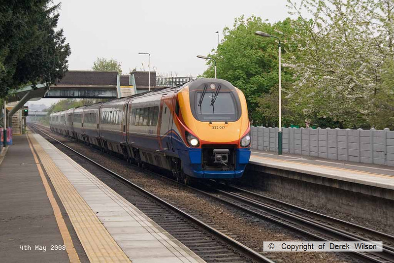 080504-011      A pair of East Midlands Trains class 222 Meridian units, led by 222017, the other unidentified are seen passing through Beeston with a unknown working, there was no known service booked to pass at this time.