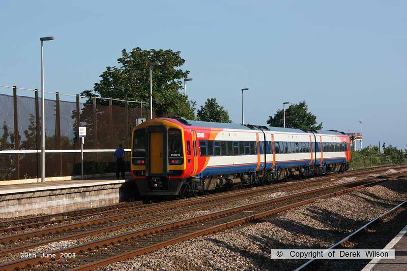 080630-011     Southwest Trains class 159 unit no. 159019 is seen at Dawlish Warren, where it will leave as the  18.04 to Paignton. The service originated from London Waterloo.