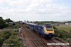 080628-008     First Great Western class 43 no. 43164 leads the 16.06 Paddington - Penzance through the down loop at Dawlish Warren, as it passes 66622 which has been stopped on the main. The unusual scene was captured after 66622 was stopped to allow 159016 to pass after calling at the station.